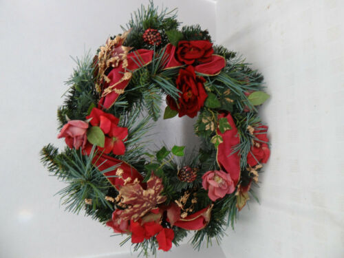 "House of LLoyd Christmas Around the World Crimson Maple Wreath 14"" Pink Red"