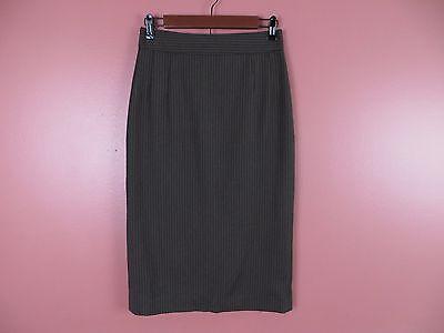 SK05514- BANANA REPUBLIC Woman 98% Seasonless Wool Pencil Skirt Brown Striped 2