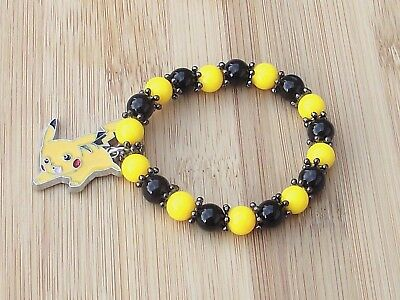 POKEMON PIKACHU BOY's or GIRL's ADULT's Stretchy Bracelet & Enamel PIKACHU Charm (Pikachu Girl Or Boy)