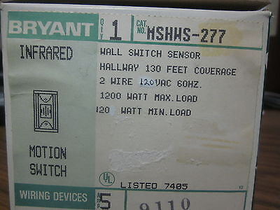 New Bryant Infrared Motion Switch Cat No. Mshws-277.......mm-770a
