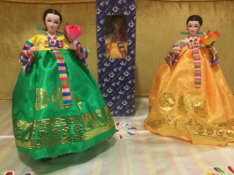 """Vintage Traditional Korean Dolls, Bright Green or Golden Yellow, 12"""" tall, boxed"""