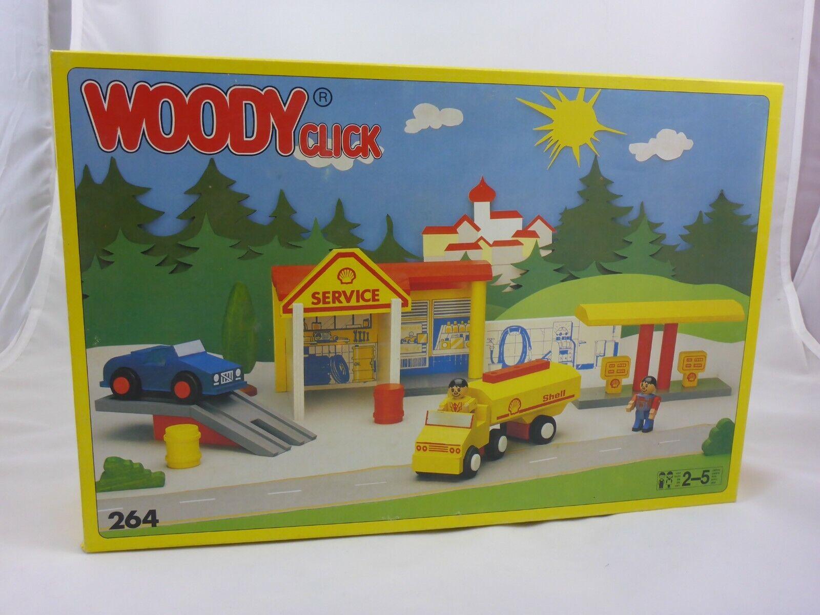 Matador Woody Click 264 Tankstelle Holzbaukasten - Retro - ab 2-5 Jahre
