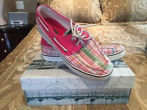 SPERRY BOAT SHOES WOMEN PINK PLAID SEQUIN