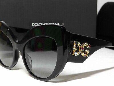 DOLCE & GABBANA DG4321F Jeweled Cat Eye Shiny Black Frame Sunglasses 55 20 (Dolce And Gabbana Eye Frames)