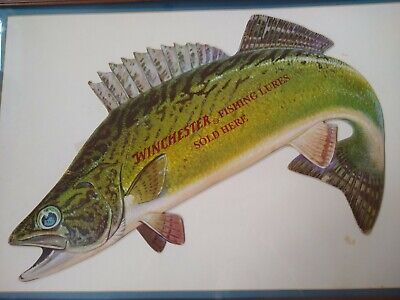 Framed Winchester Fishing Lures Sold Here Advertisement paper board die cut
