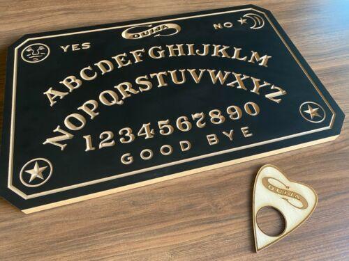 William Fuld Design. Wooden Carved Spirit Ouija Board With Planchette.