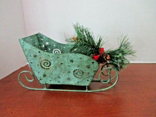 "10"" x 5 1/4"" GREEN METAL SLEIGH with Swirls, Stars, Pine Bough CHRISTMAS DECOR"