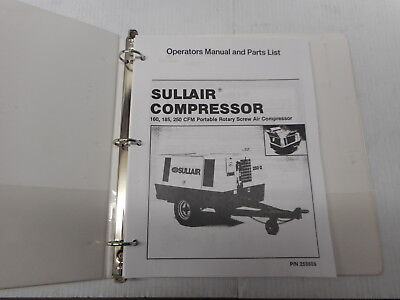 Sullair 160 185 250 Cfm Portable Air Compressor Operators Manual 253605