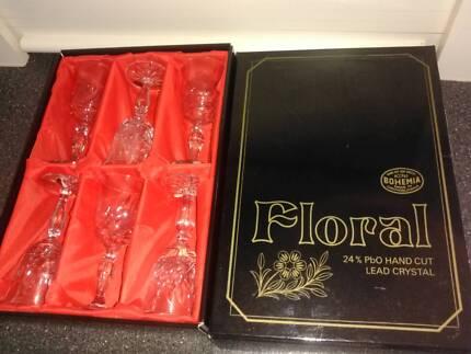 Bohemia Lead crystal Sherry glasses x 6