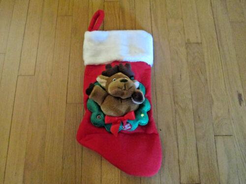 Christmas Santa Claus Reindeer Stocking Plush Animated Musical Light Up Rudolph