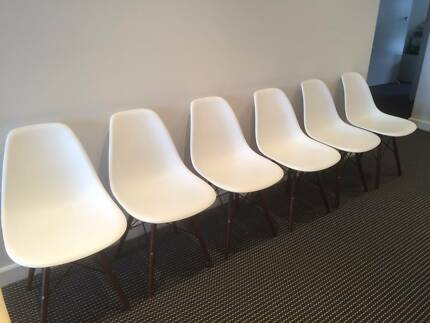 Matt Blatt Eames Replica plastic chairs - white x 6 Chiswick Canada Bay Area Preview