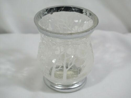 Yankee Candle Winter Frost Crackle Glass Votive Holder