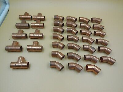 Lot Of 36 Copper Sweat Plumbing Fittings 45 Degree Elbows And Tees 12 Lot 2