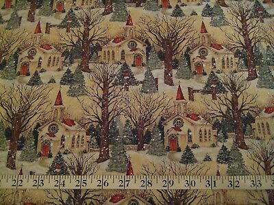 Scene Quilt Fabric - 1/4 Yard Christmas Snowy Winter Church Scene Fabric Quilting 100% Cotton