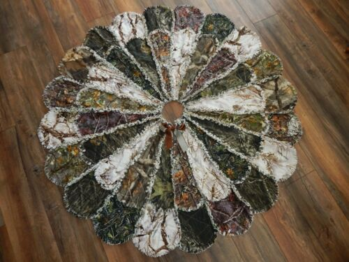 """Rustic Camouflage Christmas XLRag Quilt Tree Skirt 56""""  NEW Unique Hand Made"""