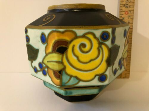 Charles Catteau Boch Freres Octagonal Vase