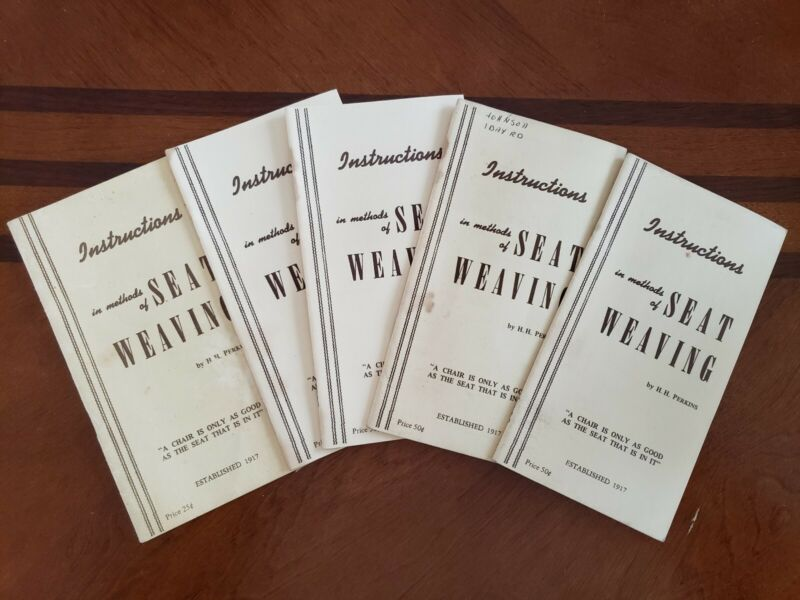 VINTAGE INSTRUCTION IN METHODS OF SEAT WEAVING BOOKLETS 5 IN LOT