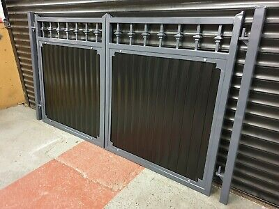 WROUGHT IRON DOUBLE DRIVEWAY GATES BLACK SPECIAL