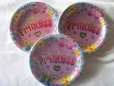 24 Princess Dessert Cake Plates Butterflies & Flowers Tableware  Birthday Party