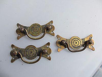 Victorian Brass Drawer Handles Pulls Antique Hardware Gilt Vintage Old x3