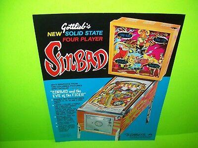SINBAD Pinball Machine FLYER Original 1977 Flipper ARCADE Game Promo GOTTLIEB