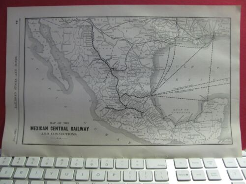 ORIGINAL 1898 MEXICAN CENTRAL RAILROAD + SYSTEM MAP w/ DEPOTS MEXICO RR HISTORY