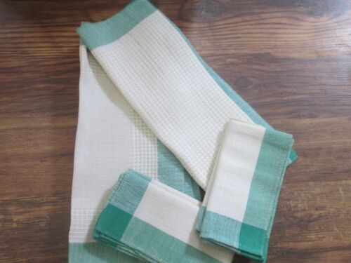 4 Hand Woven Placemat & Napkin Sets + Centerpiece Linen Signed Mary C Zinn