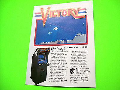 Exidy VICTORY Original Vintage Video Arcade Game Promo Ad Not A Promo Flyer
