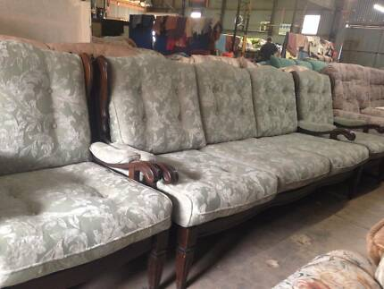 3 piece green antique lounge suite. couch / sofa.