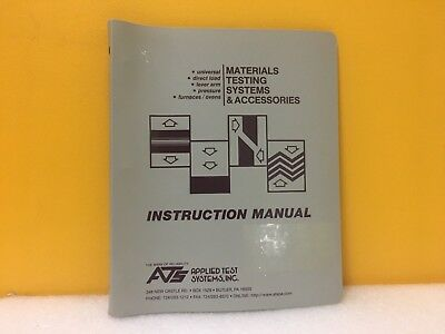 Applied Test System 3210 Split Tube Furnace Order Serial No. 00-08051 Manual
