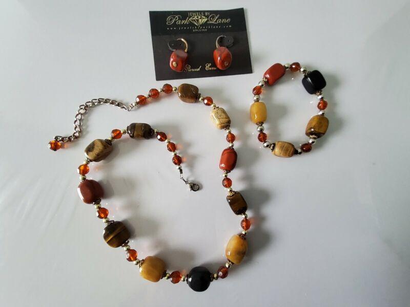 Park Lane Terrazzo  Set Necklace ,Bracelet & Earrings Genuine Tigers Eye Jasper