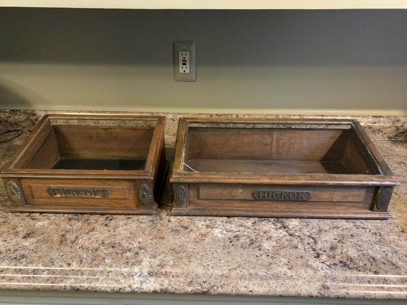 Two Antique Hickok Countertop Store Display Cases
