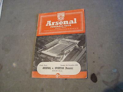 Arsenal v Spartak (Russia) Nov 1954 Floodlight friendly