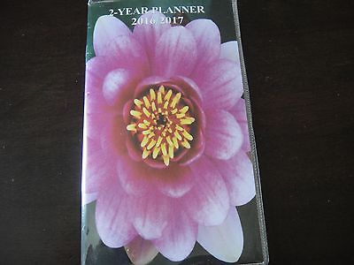 Pocket 2 Year Calendar Planner 2016 2017 Organizer Appointment Book Pink Flower