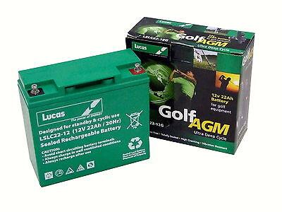 Lucas AGM 12V 22Ah (18+ Holes) Golf Trolley Battery, Mocad, Hillbilly