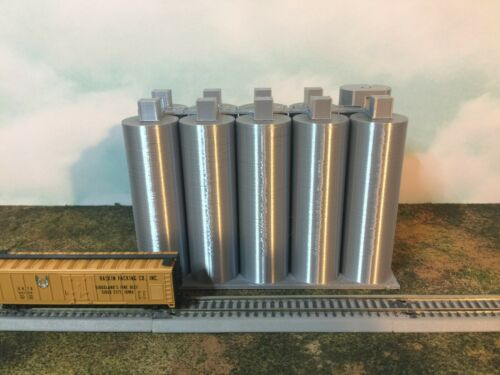 SILVER - Flour Silo SET - N Scale 1:160 EASY 2 pc Assembly! Your Small Town USA