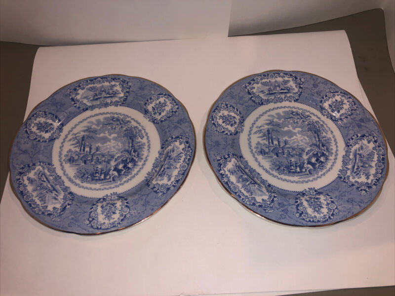 "Antique RIDGWAY Oriental Flow Blue Transferware Gold Trim Dessert Plate 7"""