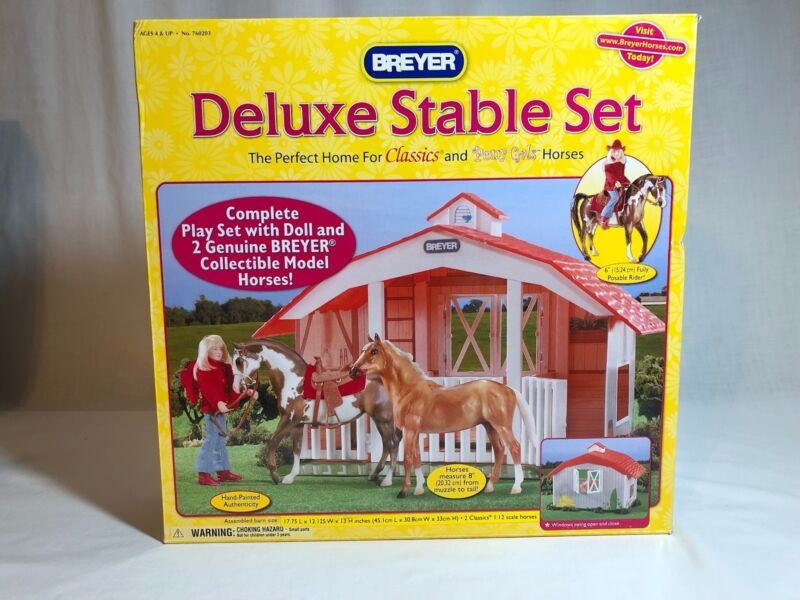 Breyer #760203 Classics Deluxe Stable Set with 2 horses & 1 doll, new in box