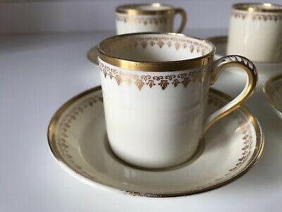 6 SETS BOUILLON CUPS /& SAUCERS ANTIQUE CAULDON CHINA L4142 RAISED GOLD ENCRUSTED