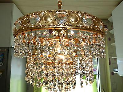 Korblüster Kristall Kristallbehang Kronleuchter Lüster Messing vergoldet antik