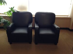 Black leather arm chairs-pair