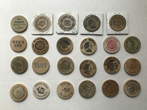 Lot of 23 Wooden Nickels