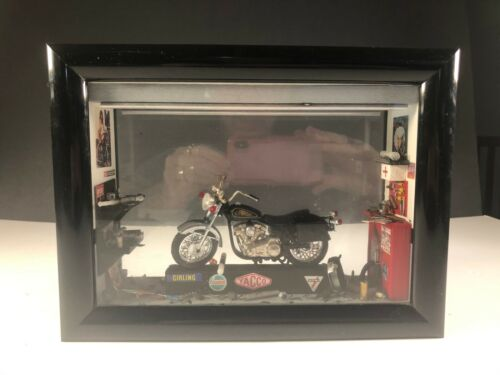Black Motorcycle Repair Shop Garage Double Sided Framed Diorama