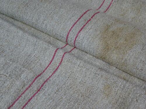 Antique European Feed Sack GRAIN SACK Red Stripe # 9418