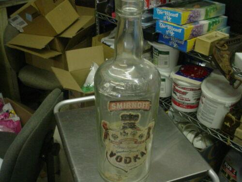 Vintage Large GLASS Smirnoff Vodka Bottle - 1 Gallon - Bar or Man Cave