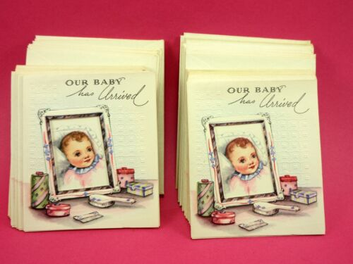 24 BIRTH ANNOUNCEMENTS OUR BABY HAS ARRIVED 3 X 3 1/12 RARE VINTAGE DIAMOND LINE