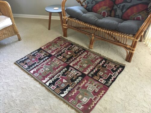 Vintage+Tribal+Wool+Rug%2FTapestry%2FHand+woven%2Fmade+in+Peru%2Fethnic+art