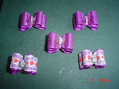 Pretty Purple Glitter Mix Show Style Dog Grooming Bows Diamante Centre
