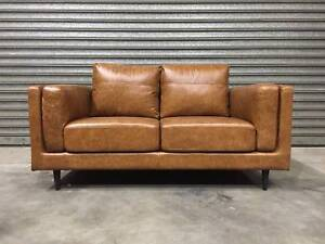NEW 2-SEATER SOFA: LISBON LEATHER SIDE CUSHIONS BEAUTIFUL Leumeah Campbelltown Area Preview