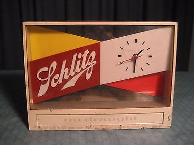 "1955 SCHLITZ ON DRAUGHT BEER LIGHT UP CLOCK ADVERTISING METAL ""LOOK"""